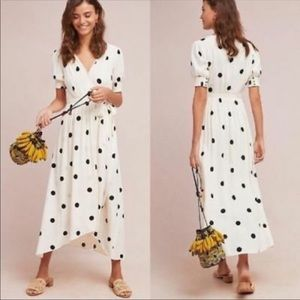 Anthro Maeve Breanna Polka Dot Wrap Dress Sz 10P